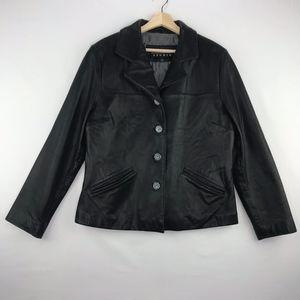Siena Studio Short Black Leather Coat Button Front